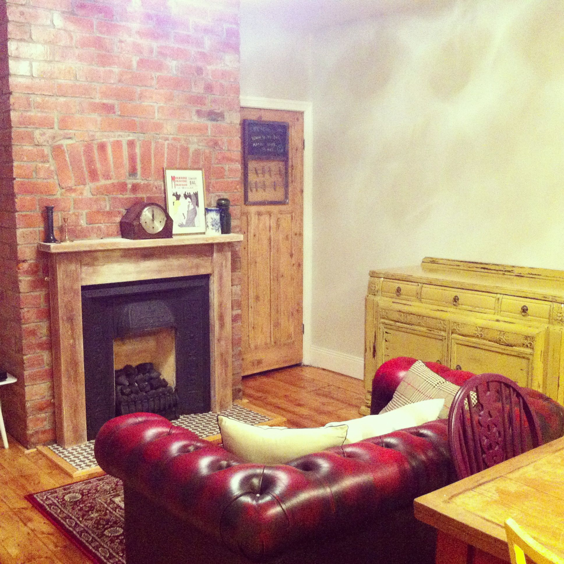 Exposed brick chimney breast lounge pinterest Fireplace feature wall colour