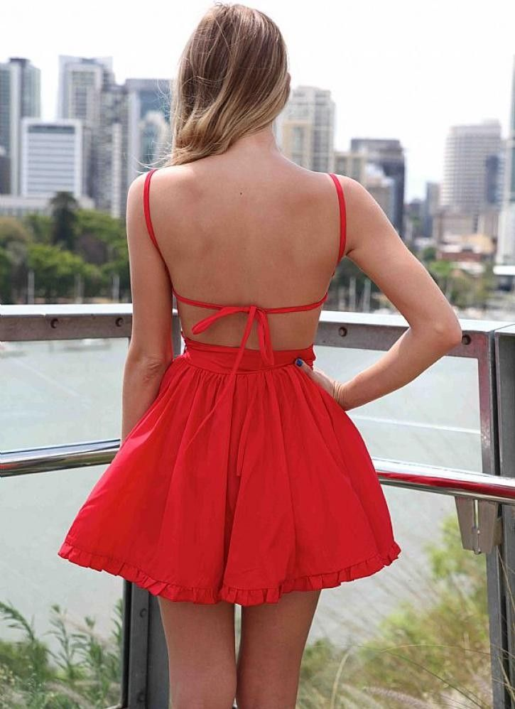 Red Mini Dress with Tie Back and Frill Hem #ustrendy www.ustrendy.com