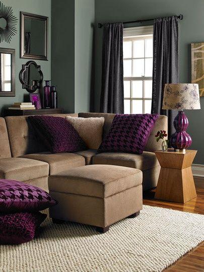 Love the purple in the living room interior design Pinterest