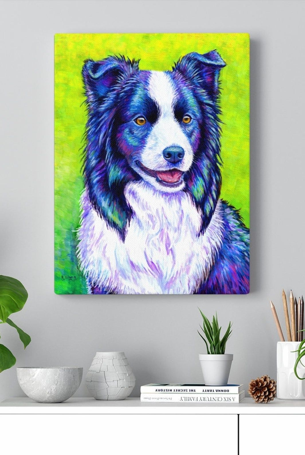 Colorful Border Collie Dog Stretched Canvas Art Print Wall Art Etsy Canvas Art Prints Etsy Wall Art Art