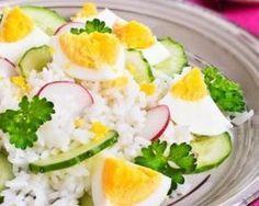 Riz minceur aux radis, concombre et oeuf dur