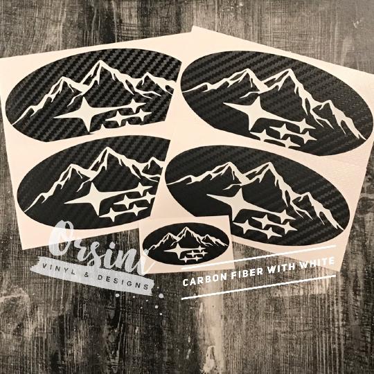 Mountain Outline One Color With Subaru Stars Subaru Emblem Overlay D Orsini Vinyl Designs Overlays Subaru Mountain Outline