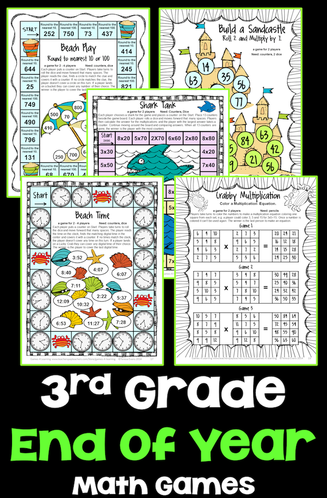 End of Year Math Games Third Grade: End of the Year Activities or ...