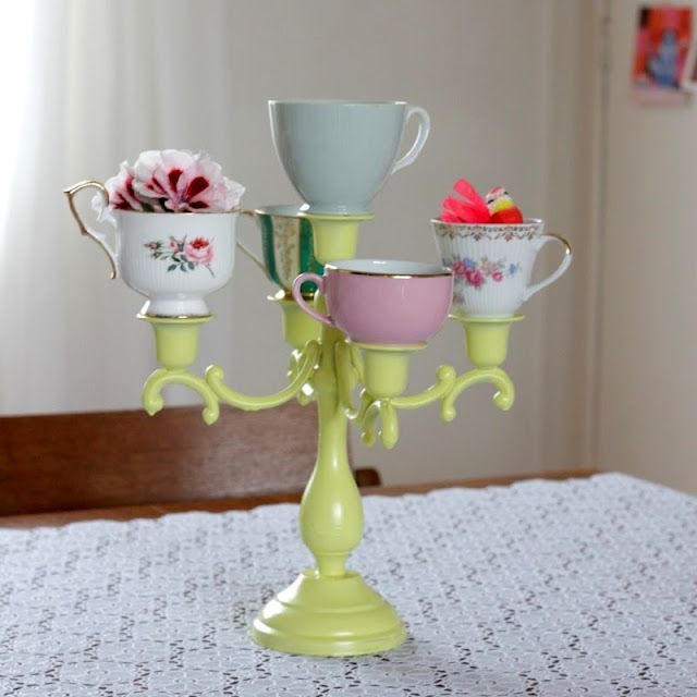 Cute Tea Cup Vases I Like The Lighted One On The Blog Too Too Bad