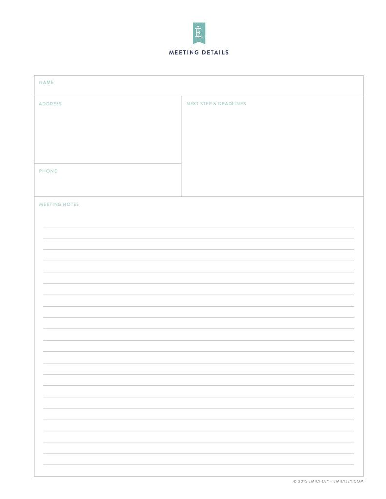 Meeting Details Free Printable Library  Emily Ley  Planner