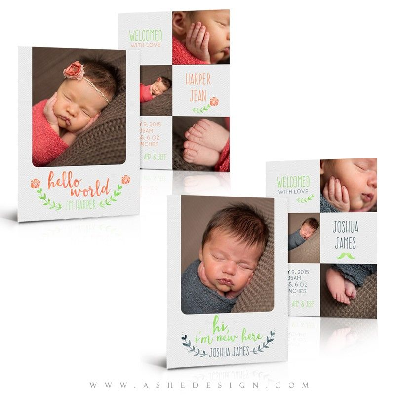 Simply Stitched Photo Baby Birth Announcement Card Template Elements Photoshop Template 5x5 Press Printed Card
