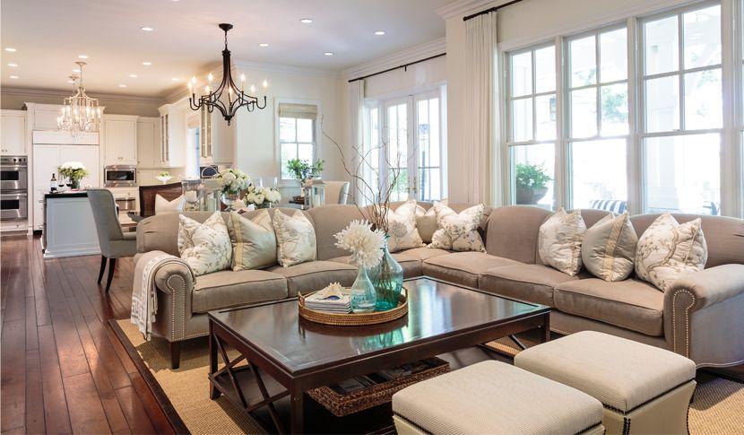 Elegant design for coastal living barclay butera interiors beach living room great room for Elegant coastal living rooms