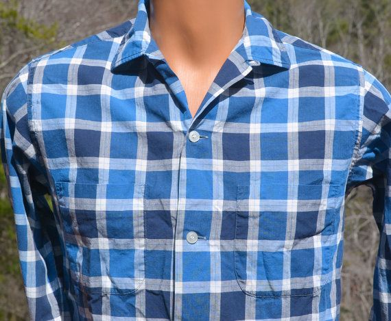 Vintage 50s Blue Loop Collar Button Down mW5mNE