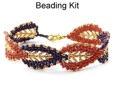 Gilded Leaf Bracelet in Purple Brown and Gold Beading Kitt Kit 401