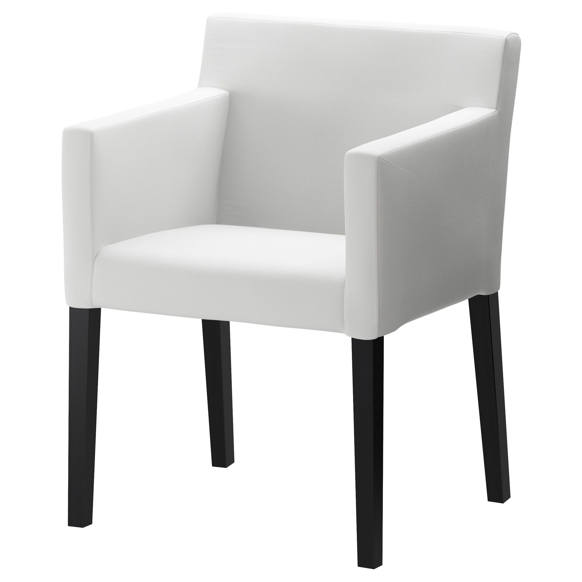 NILS Chair with armrests black Blekinge white