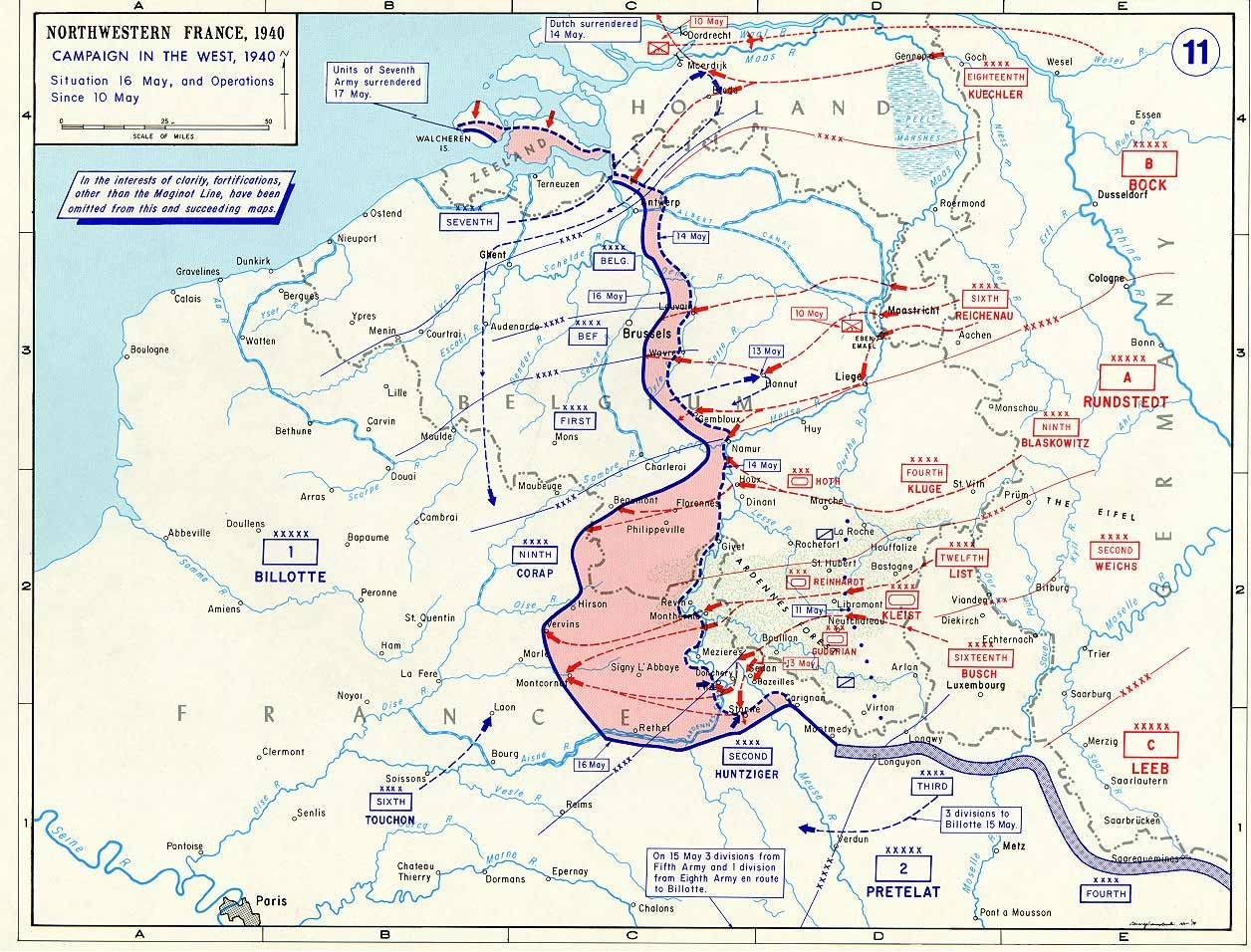 Map Map Noting German Advances In France And The Low