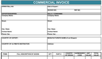 fillable commercial invoice