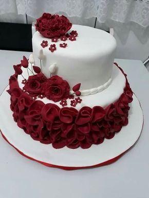 cake with red design Pin by Binta Efi on Bolo  Buttercream designs, Rose cake, Wedding