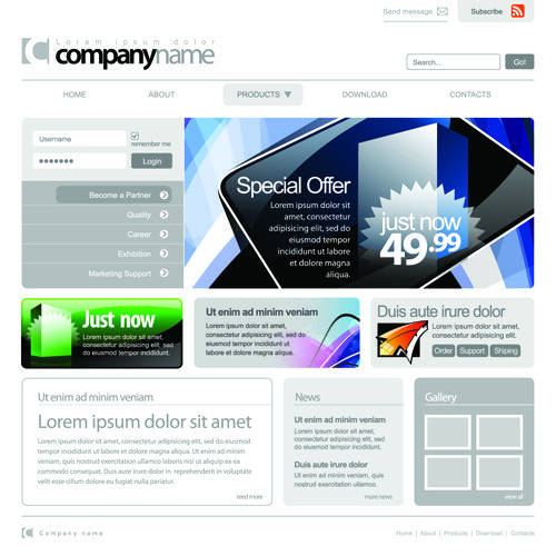 Website Template Gray Vector Website Templates Design Elements 03  Free Psd