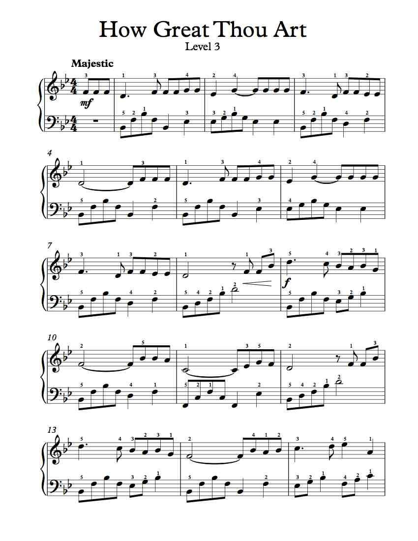Free piano arrangement sheet music how great thou art