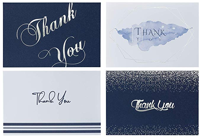 Amazon Com Banana Basics Thank You Cards Bulk Set W Envelopes 72 Pack Blank Note Cards 4 X 6 Navy Blue With Sil In 2020 With Images Foil Stamping Blank Note Cards Note Cards
