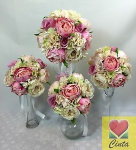 Silk flower light pink peony hydrangea rose flowers wedding bouquet wedding supplies cake decorations flowers garlands ebay au junglespirit Choice Image