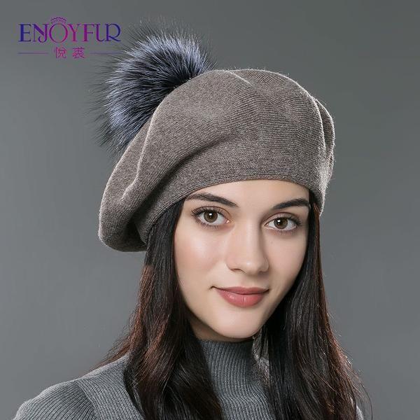 90f70835537 ENJOYFUR Women beret hat female winter knitted wool beret natural raccoon  fox fur pompom hat solid color top quality beret cap