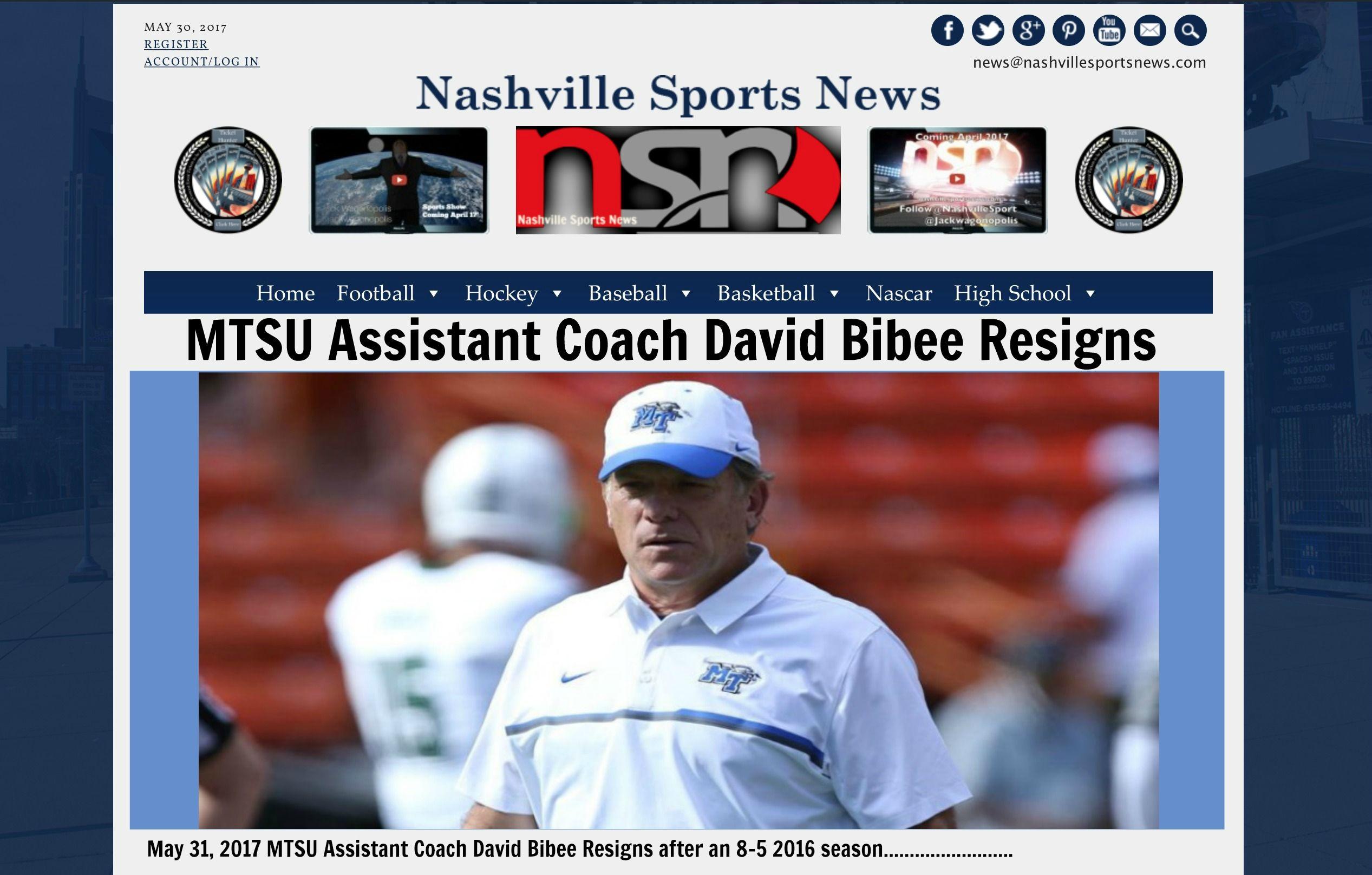 MTSU Assistant Coach David Bibee Resigns http//www