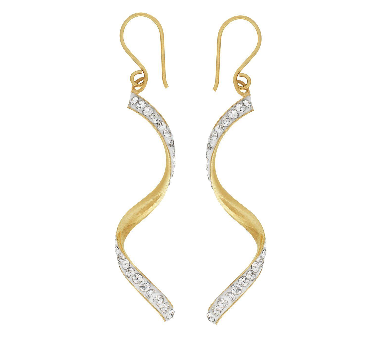 Revere 9ct Gold Cubic Zirconia Twist Drop Earrings At Argos Co Uk