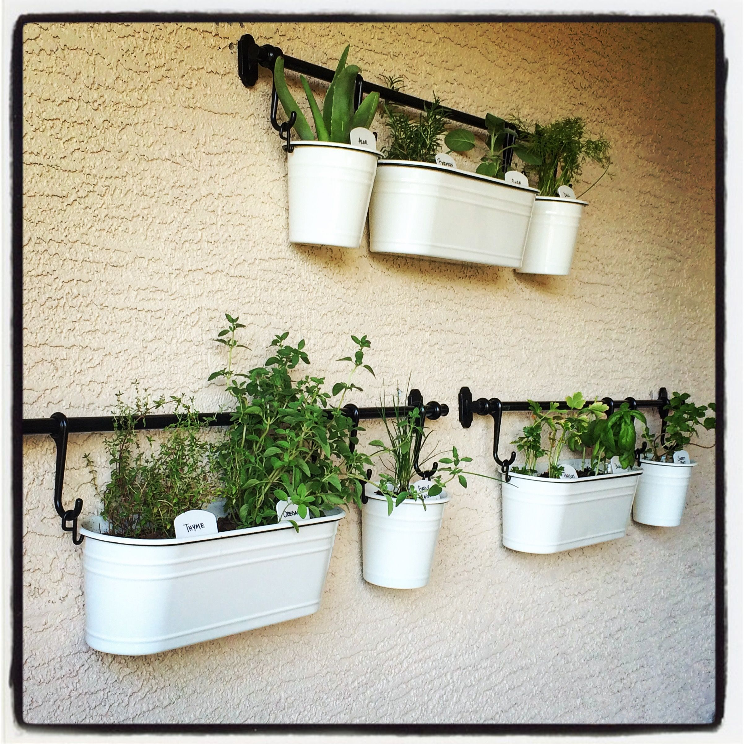 My Patio Herb Garden Made using the IKEA Fintorp line Super cute