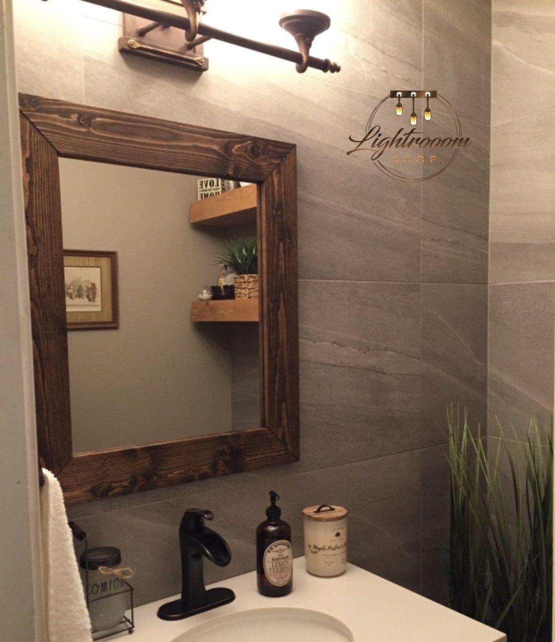Espresso Wood Framed Mirror Rustic Wood Mirror Bathroom Mirror Wall Mirror Vanity Mirror Small Mirror Mirror Wall Bathroom Mirror Wall Mirror Wall Bedroom