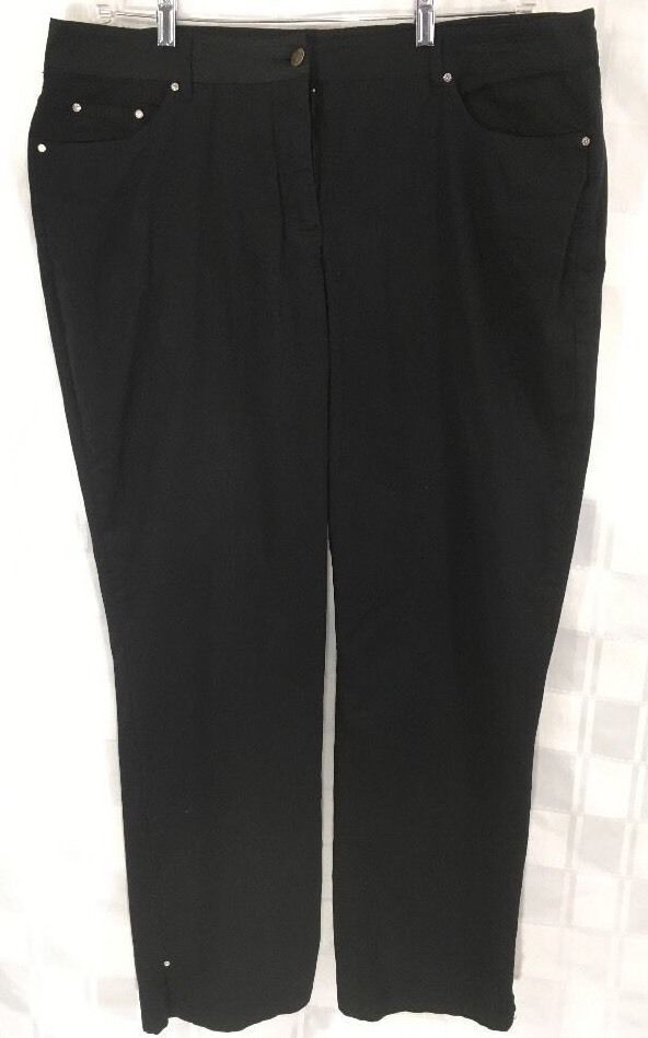 c0be304c0dd Cathy Daniels Womens Black Pants Plus Sz 16 Bling Straight Leg 40 x 28  Casual  CathyDanielsplussize  StraightLegplussizejeans  black