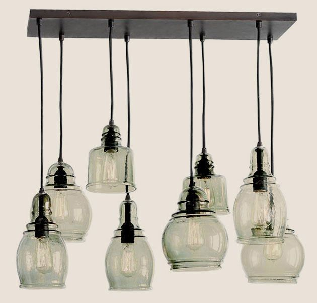 Pottery Barn Paxton Glass 8 Light Pendant Chandelier New