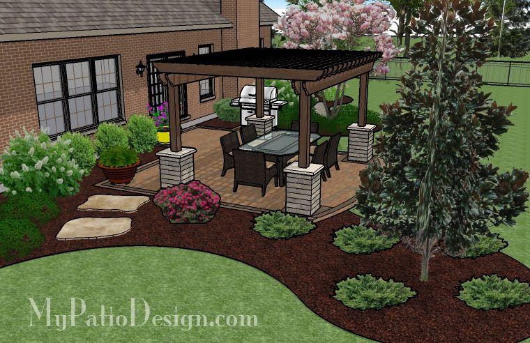 385 Sq Ft Simple Paver Patio Design With Pergola Landscaping