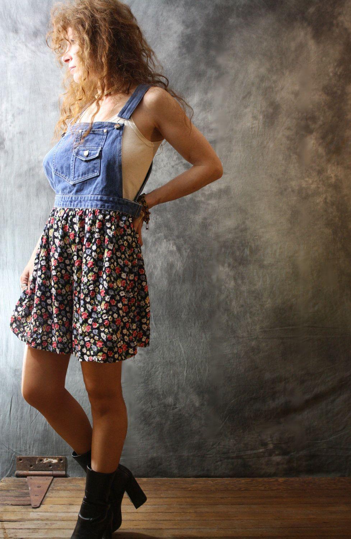 Vintage 1990s Indie Grunge Dress Jumper Overalls Culottes Split Skirt. $45.00, via Etsy.