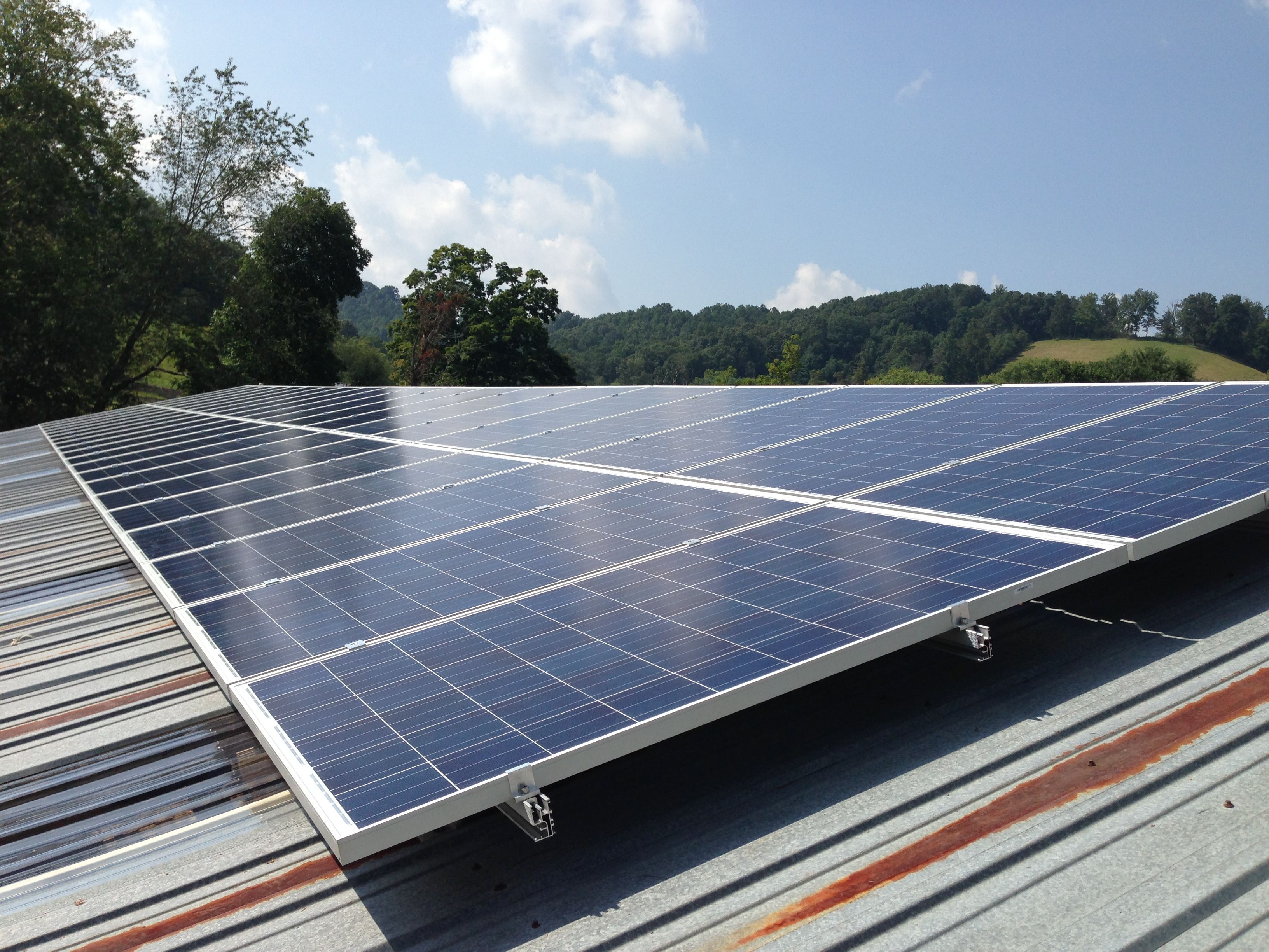 grid tied solar array on a barn roof solar electric photovoltaic