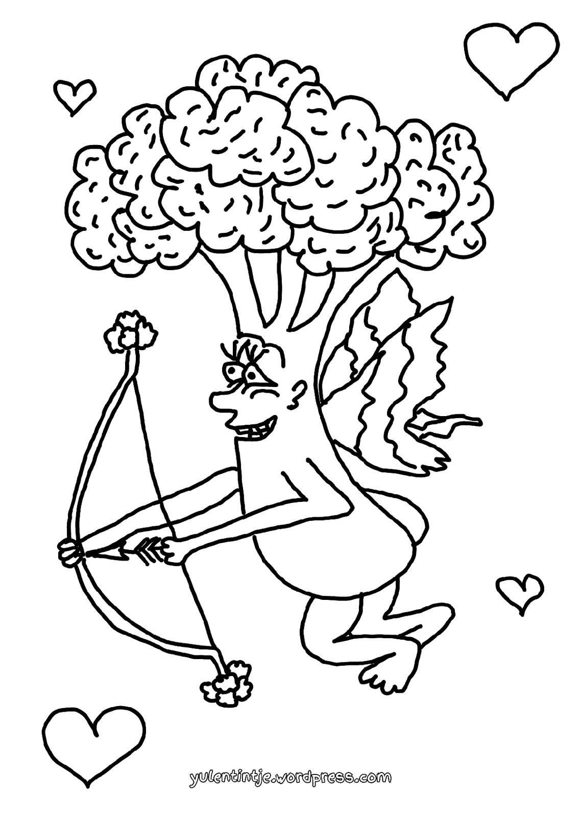 broccoli cupido illustratie kleurplaat om in te kleuren