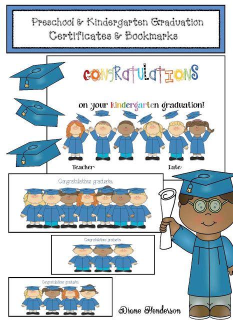 Preschool  Kindergarten Graduation Certificates  Bookmarks - kindergarten graduation certificates