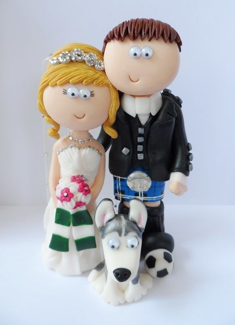 Scottish Bride Groom Wedding Cake Topper With Their Husky Dog