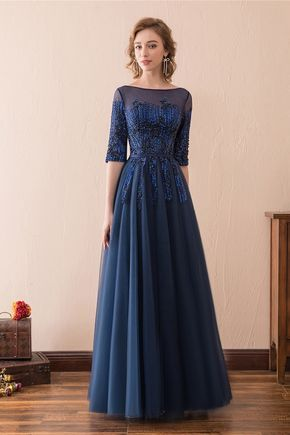 shop modest corset beaded lace evening dress long with 1/2