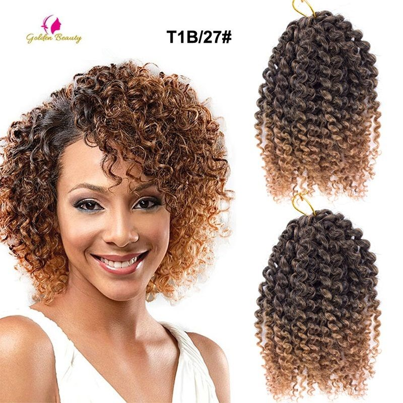 8inch 3pcs Pack Curly Crochet Hair Extension Ombre Blonde Curly Crochet Hair Styles Cheap Braiding Hair Braids With Extensions