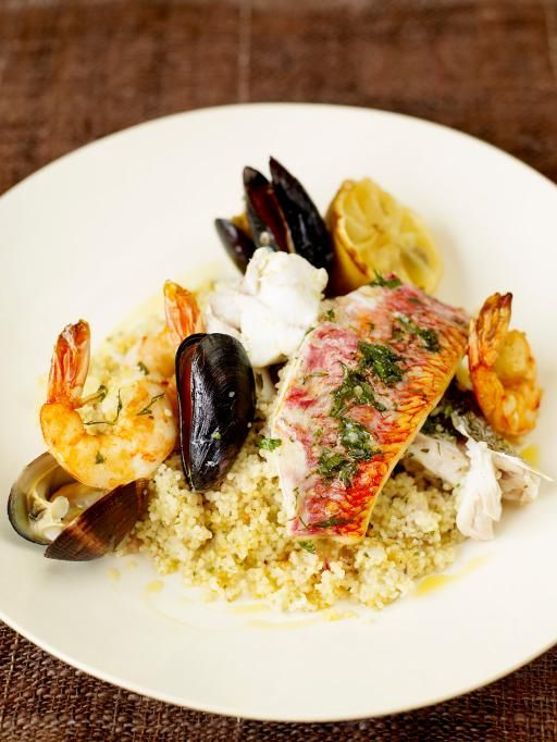 Mixed Fish Grill With Lemon Couscous Recipe Seafood Pinterest