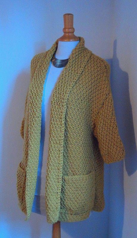 magnifique veste au point de ble tricot facile rapide jaune moutarde yarn wool knitting. Black Bedroom Furniture Sets. Home Design Ideas