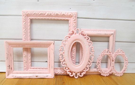 Pink Frame Group Baby Girl Nursery Frames by OnceUponaTimeFinds, $58.99