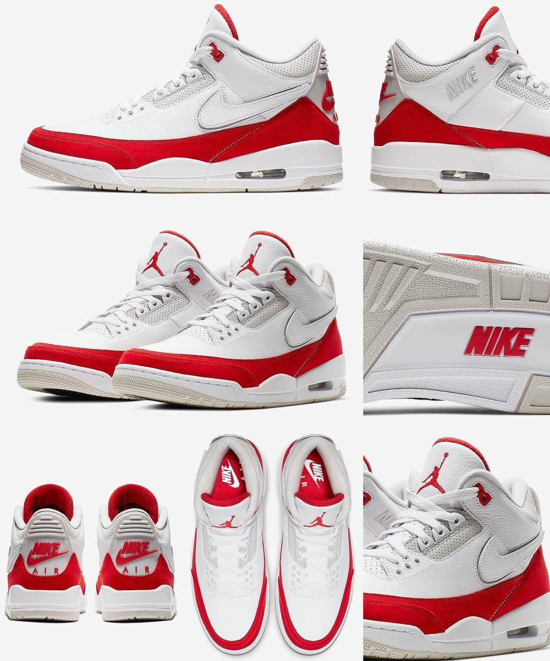 "separation shoes 40f7f bc206 zSneakerHeadz on Instagram  ""Official Images of the 2019 Air Jordan Retro 3  TH SP  AirMax March 30th, 2019 White University Red-Neutral Grey Removable  ..."