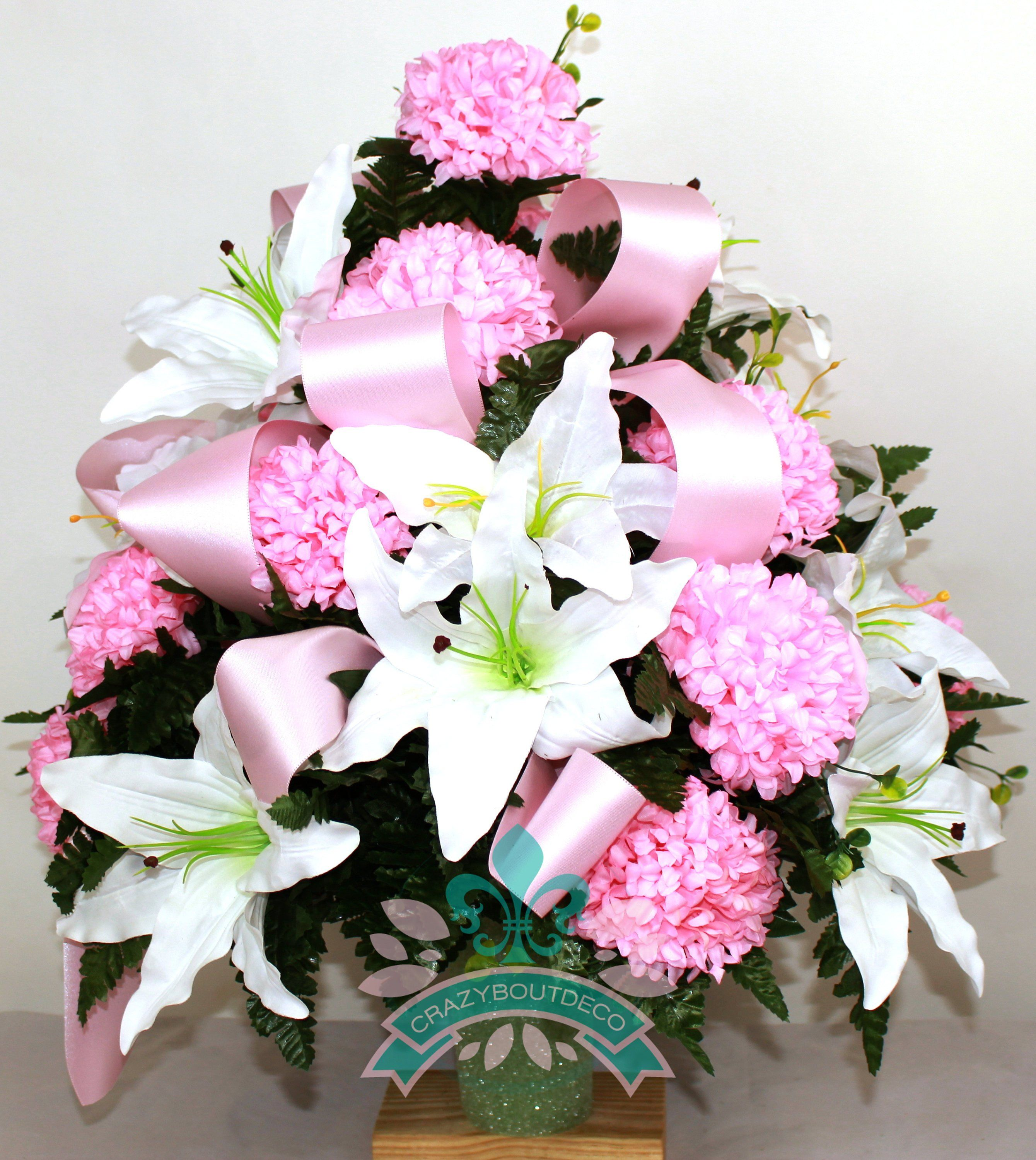 Beautiful Xl White Lilies W Pink Carnations Cemetery Arrangement For