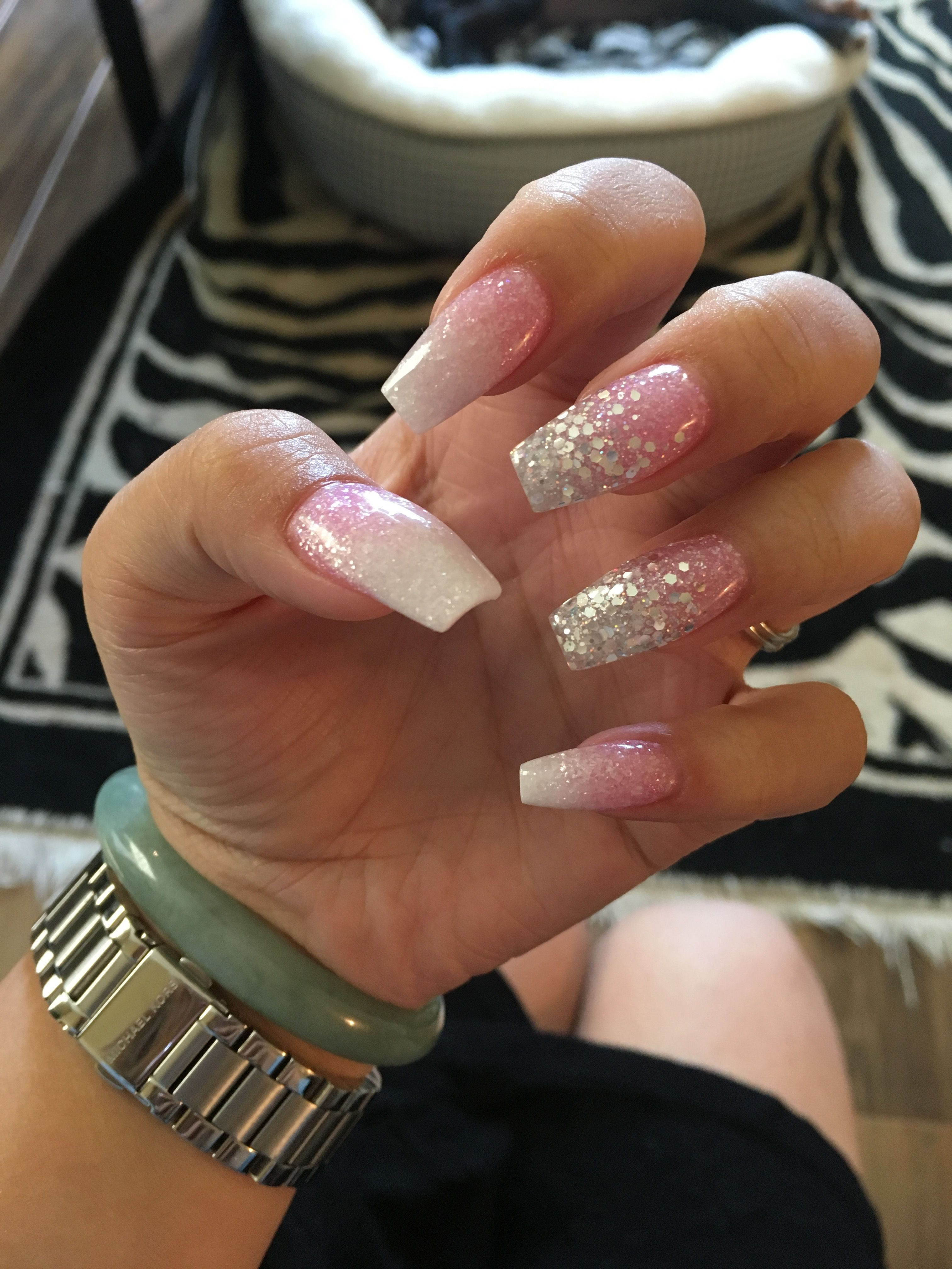 White And Pink Ombre Glitter Coffin Nails Ombre Nails Glitter Pink Ombre Nails Pink White Nails