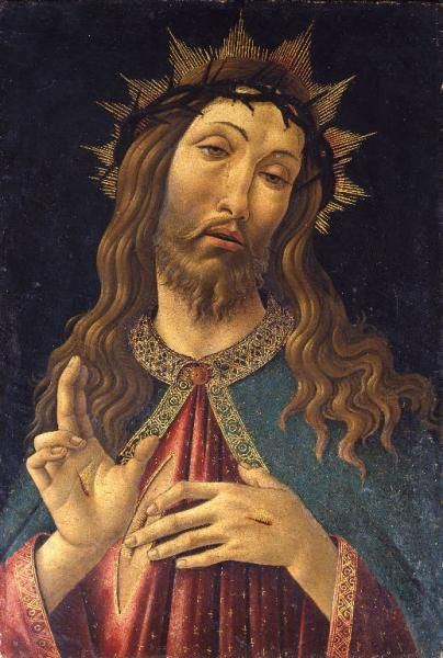 Sandro Botticelli  (bottega) - Cristo redentore benedicente  - post 1500-ante 1515 -  Bergamo, Pinacoteca Accademia Carrara