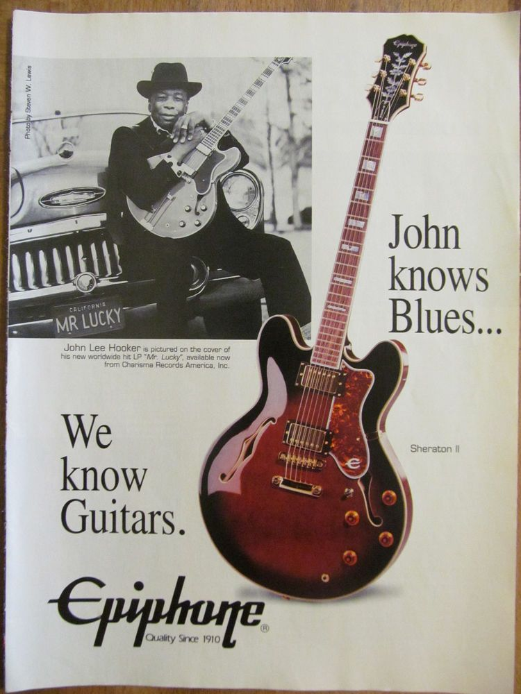 john lee hooker epiphone guitars full page promotional ad music ads guitar songs guitar. Black Bedroom Furniture Sets. Home Design Ideas