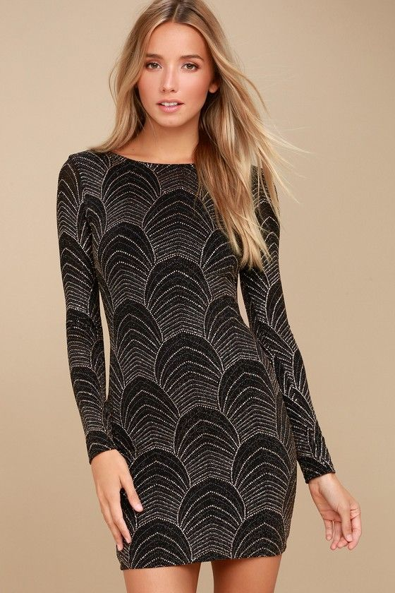 Its My Night Gold And Black Print Long Sleeve Bodycon Dress My