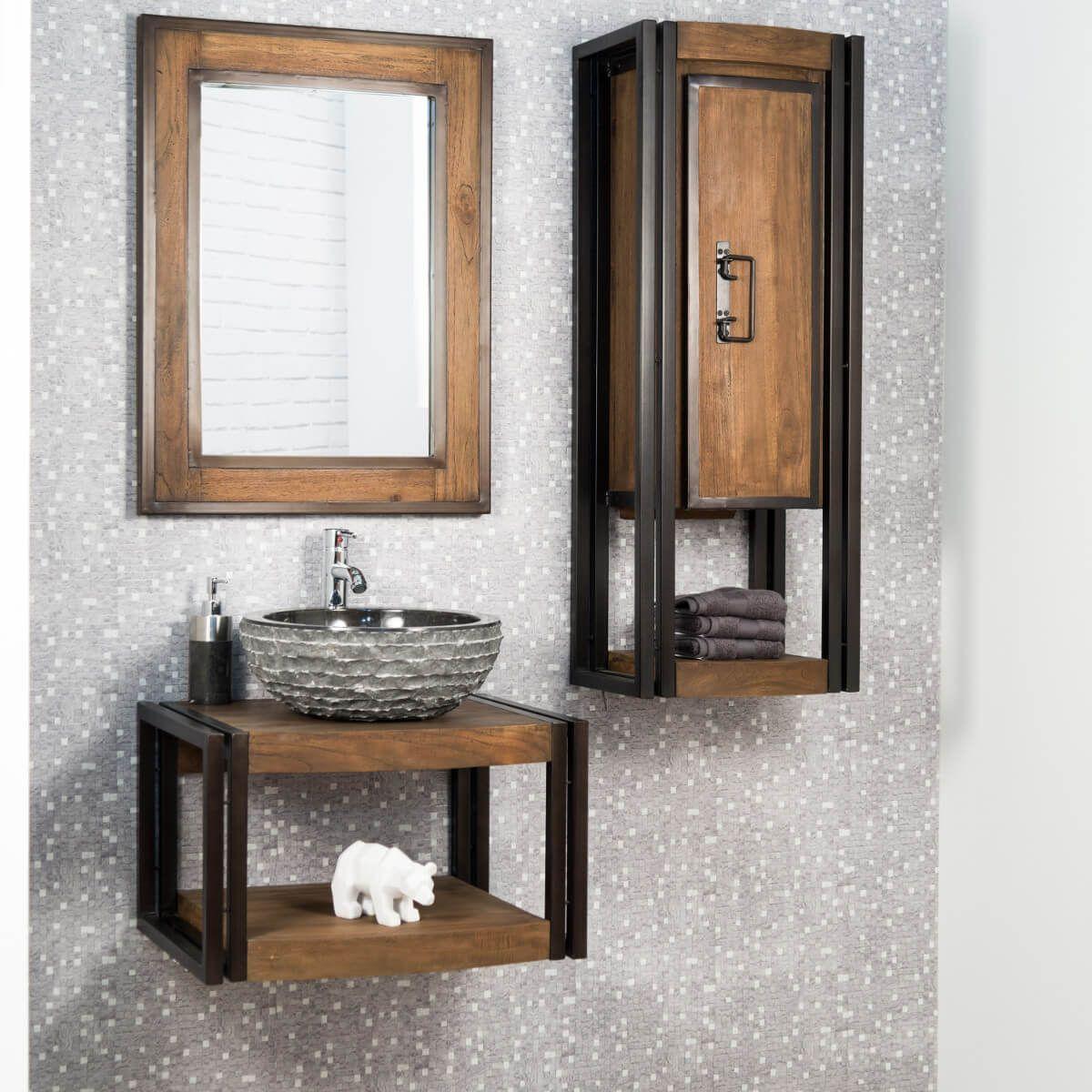 Meuble de salle de bain suspendu Elégance teck et acier 17 cm