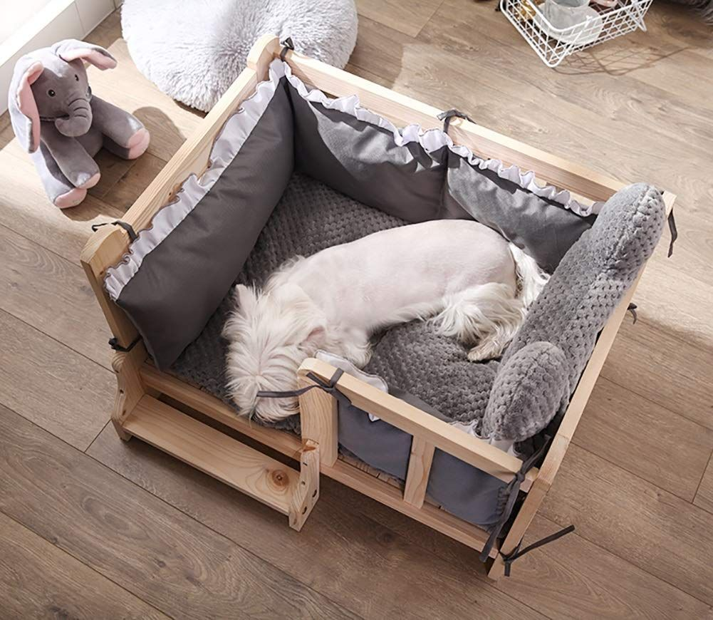 Lxla Pet Wood Dog Bed With Guardrail Deluxe Elevated Pet Bed Frames Removable Washable Cover Size Xl 100 70 45cm Wood Dog Bed Pet Bed Frame Washable Cover