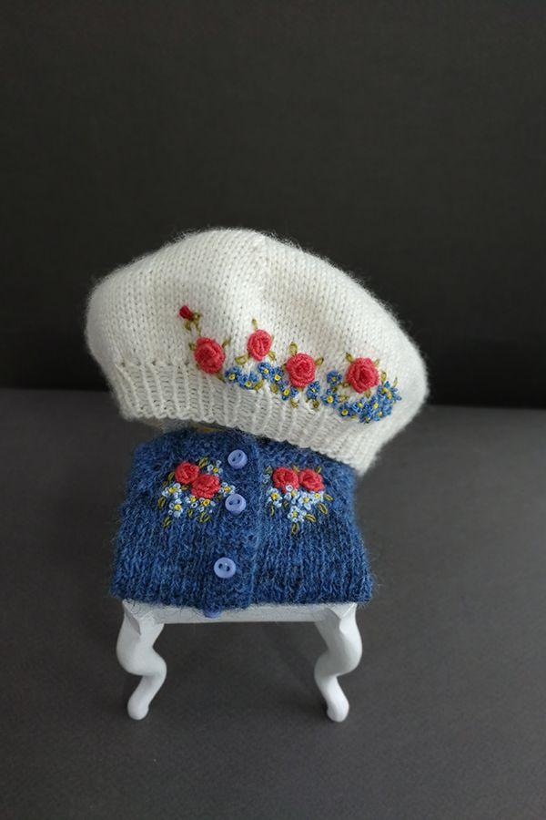 Blythe outfit Blythe, knit Blythe clothes,hat Blythe cardigan Knitted doll hat, hat Blythe , Knitted beret Blythe embroidered hat for Blythe #dollhats