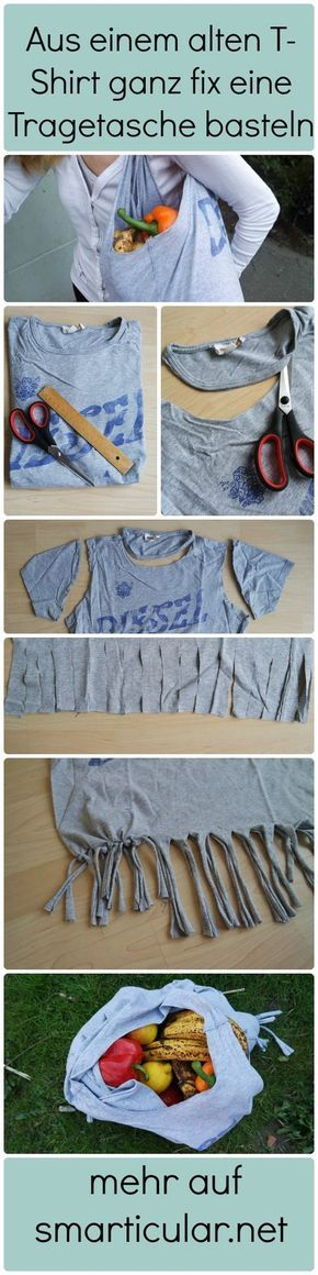 Einkaufsbeutel aus altem T-Shirt selber machen ohne Nähen #nosewshirts
