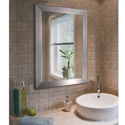 Deco Mirror Modern 26 In X 32 Brushed Nickel
